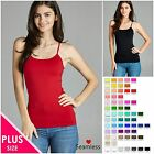 1XL 2XL 3XL Women's Plus Size Soft Seamless Nylon Cami Spaghetti Straps Tank Top