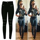 Women Slim Fit Pants Zipper Hollow Casual Skinny Leggings Long Trousers DZ88