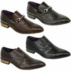 Mens Formal Patent Leather Look Lace Up Slip On Pointed Italian Shoes