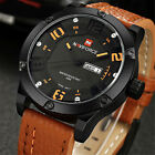 NAVIFORCE MILITARY Mens DATE Display Leather Strap Quartz Sport Wrist Watch