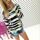 New Ladies Jumpers T shirt Blouse Women Striped Floral Tops Sweatshirt Print Tee