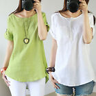 COOL Women Casual Cotton Linen Short Sleeve Round Neck T Shirt Loose Blouse Tops