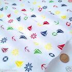 White nautical themed fabric yachts anchors per FQ, 1/2M or metre polycotton