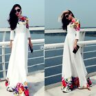 Ladies Chiffon Maxi Bohemia Floral Long Sleeve Cocktail Evening Party Boho Dress