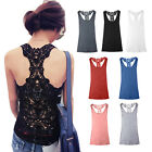 Womens Sexy Cotton Crochet Back Hollow-Out Vest Camisole Lace Cami Tank Top
