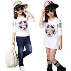 2016 New Leisure Printing Pattern Long Sleeves Children Cotton Shirt White.
