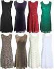 BLACK  BROWN RED GREEN CREAM WHITE PURPLE SEQUIN LACE EVENING DRESS 16-22