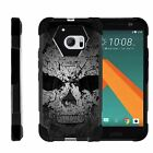 For HTC 10 | One M10 | Dual Bumper Case  Kickstand- Faded Skull