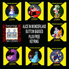 ALICE IN WONDERLAND - 25mm BUTTON BADGE OR 25mm FRIDGE MAGNET OR BUY AS SET