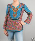 Tolani Salina Top Blouse Tunic V Neck in Turquoise 9214