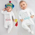 I Love Mom/Dad Organic Baby Boy Girl Grow Long Sleeve Bodysuit Jumpsuit Romper