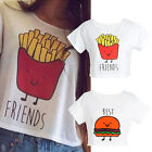 Women Best Friends Print T-shirt Casual Summer Short Sleeve Round Neck Crop Top