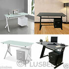 Computer Desk Office Home Furniture PC Table Workstation Side Drawer & Glass Top