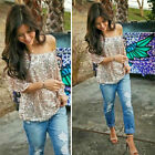 Plus Size Women Ladies Shiny Sequin Tops Summer Casual 3/4 Sleeve Blouse T-Shirt
