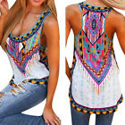 Women Summer Sleeveless Printed Vest Tee Shirt Boho Blouse Casual Tank Tops Chic