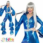 70s DANCING DREAM QUEEN WATERLOO BLUE - 8-14 - womens ladies fancy dress costume