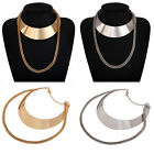 Stylish Women's Jewelry Silver Gold Plated Double Chain Choker Pendant Necklace