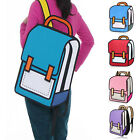 Stylish 3D Jump Style 2D Drawing From Cartoon Paper Backpack Bag Satchel Bookbag