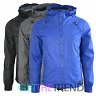Mens Crosshatch Lightweight Windbreaker Contrast Showerproof Hooded Coat Jacket