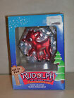 RUDOLPH THE RED NOSED REINDEER GLASS CHRISTMAS HOLIDAY ORNAMENT BRASS KEY 2002