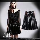 punk rock constable league handcuff chain pleated patent leather skirt SKT01501