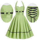 CHEAP Vintage 50's Dresses Women's Halter Party Cocktail Housewife Summer Dress