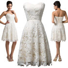 Strapless Lace Ball Cocktail Evening Prom Party Dress Homecoming White Wedding