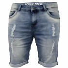 Mens Knee Length Ripped Denim Shorts By Soul Star