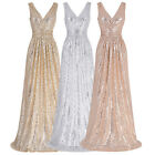 V-neck Long Sequins Cocktail Party Dresses Formal Gown Prom Ball Evening Vestido