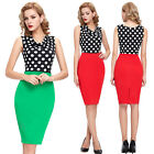Sexy Women's Vintage Polka Dots Hip-Wrapped Casual Cocktail Party Pencil Dresses