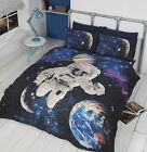 SPACEMAN ASTRONAUT IN SPACE GLOW IN THE DARK QUILT DUVET COVER BEDDING SET