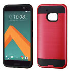 For HTC 10 Premium Brushed Metal HYBRID Rubber Case Snap Cover +Screen Protector