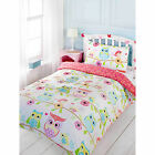 Cute Owls Duvet Cover With Florals - Pink Reversible Bedding For Kids Girls