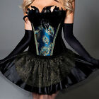 Black Peacock Corset Basque & Skirt Fancy Dress Outfit/Christmas Party Costume