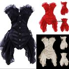 Gothic Boned Corset & Skirt Vampire Fancy Dress Outfit Showgirl Costume Clubwear
