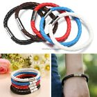1Pcs Unisex Men'Genuine Braided Synthetic Leather Steel Magnetic Clasp Bracelet