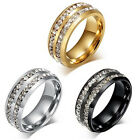 Womens Mens Fashion Double Rows Crystal Titanium Steel Wedding Jewelry Ring