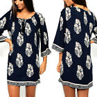 CHIC Sexy Women Long Sleeve Casual Party Cocktail Summer Beach Short Mini Dress