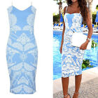 CHIC Women Sexy Summer Casual Sleeveless Lace Printing Beach Dress Mini Dress