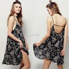 Women Sexy Sleeveless Backless BOHO Floral cocktail Beach Party Mini Dress DZ88
