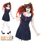 Schoolgirl Zombie + Hat Womens Fancy Dress School Girl Uniform Halloween Costume