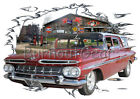 1959 Red Chevy Impala Station Wagon Hot Rod Garage T-Shirt 59, Muscle Car Tee's