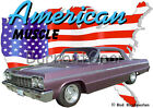 1964 Plum Chevy Impala Custom Hot Rod USA T-Shirt 64, Muscle Car Tee's