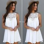 Women Lace Chiffon Summer Cocktail Party Beach Mini Dress Casual Dresses Tops