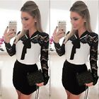 HOT Sexy Womens Vintage Long Sleeve Lace Evening Party Bodycon Mini Skater Dress