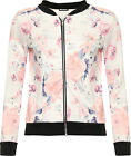 Womens Pink Rose Bomber Jacket Ladies Floral Print Long Sleeve Zip Stretch 8-14