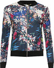 Womens Floral Leaf Print Bomber Jacket Ladies Plain Long Sleeve Zip Stretch 8-14
