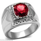 925 Sterling Silver 11x9 mm Oval July Red Ruby Color Stone Men's Ring Size 7-14