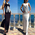Women Slim Letter Print Sexy Round Neck Bodycon Summer Bandage Split Dress