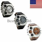 Luxury Quartz Sport Military Stainless Steel Dial Leather Band Wrist Watch Men image